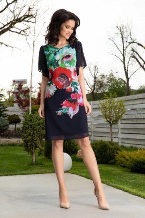 Rochie larga bleumarin eleganta cu flori maxi colorate si maneci evazate Leonard Collection