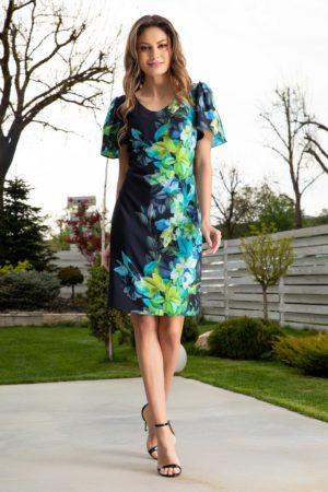 Rochie scurta de vara bleumarin cu imprimeu floral pe o parte si maneci scurte Leonard Collection