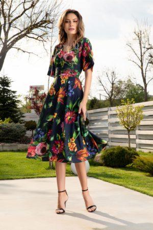 Rochie de vara vaporoasa bleumarin cu croiala in clos si imprimeu floral colorat Leonard Collection