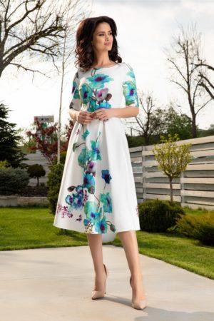 Rochie midi de vara alba pentru ocazie cu imprimeu floral turcoaz Leonard Collection