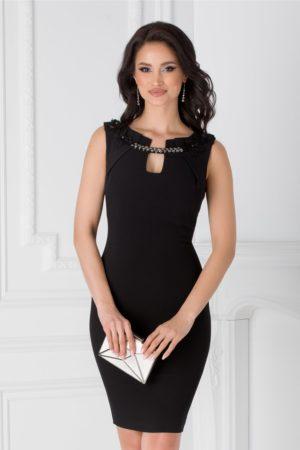 Rochie neagra de seara eleganta cu broderie aplicata la decolteu Leonard Collection