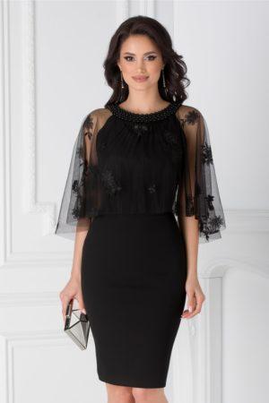 Rochie midi neagra de seara eleganta cu tull si decolteu accesorizat cu margele Leonard Collection