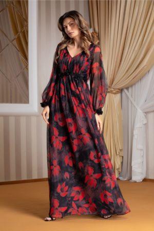Rochie de vara vaporoasa neagra lunga din voal cu flori rosii si decolteu in V Leonard Collection