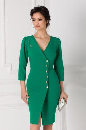 Rochie de ocazie tip sacou verde cu nasturi aurii prevazuta cu decolteu in V si maneci lungi Leonard Collection