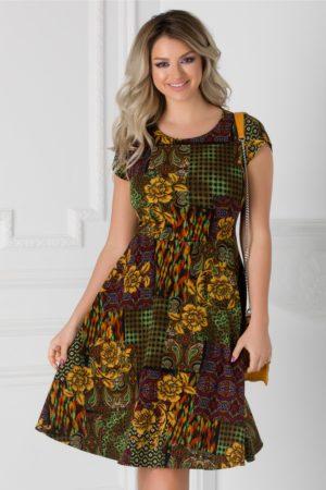 Rochie de vara cu imprimeu multicolor Linda pentru tinute cochete si pline de viata