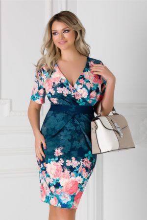 Rochie de ocazie midi bleumarin cu imprimeu floral Lorena mulata pe corp pentru primavara