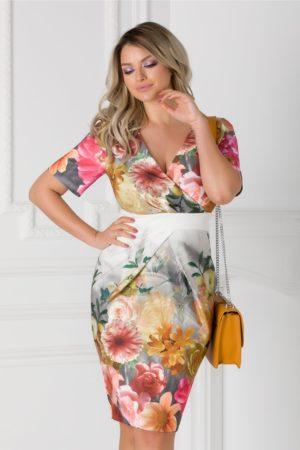 Rochie de ocazie midi gri cu imprimeu floral Lorena mulata pe corp pentru primavara