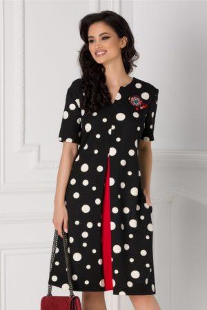 Rochie eleganta de zi neagra cu buline albe Madeline pentru femei plinute