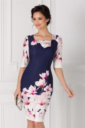 Rochie midi bleumarin eleganta de ocazie cu flori mari roz Magnolia