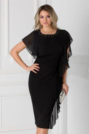 Rochie midi de seara neagra cu volane diafane si aplicatie cu pietricele si margele la decolteu Marta pentru femei plinute