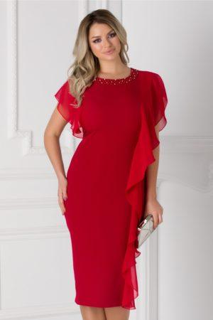 Rochie midi de seara rosie cu volane diafane si aplicatie cu pietricele si margele la decolteu Marta pentru femei plinute