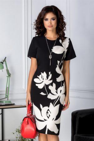 Rochie midi neagra eleganta cu imprimeu floral ivory Marylin pentru tinute office