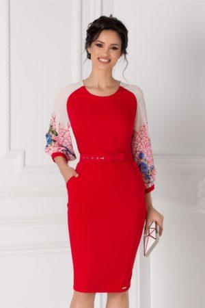 Rochie de ocazie rosie eleganta midi cu maneci vaporoase din voal imprimat pentru femei plinute Maya
