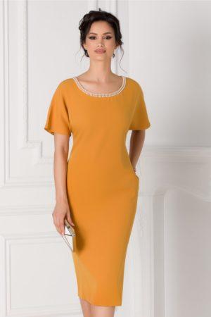 Rochie eleganta galben mustar de ocazie cu perle la decolteu Michaela pentru femei plinute