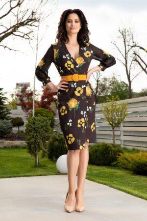 Rochie de nunta neagra eleganta petrecuta cu flori galbene si curea in talie Miriam