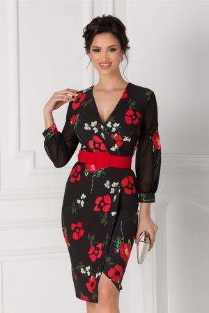 Rochie de nunta neagra midi eleganta petrecuta cu flori rosii Miriam