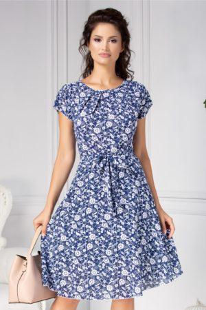 Rochie de primavara bleumarin cu floricele Missa cu cordon in talie si maneci scurte