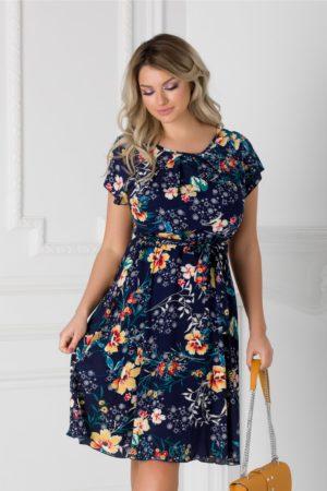 Rochie bleumarin cu imprimeu floral orange Missa cu cordon in talie si  maneci scurte