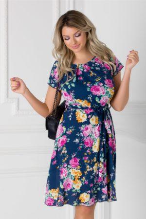 Rochie de zi bleumarin cu imprimeu floral roz Missa cu cordon in talie si maneci scurte