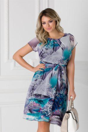 Rochie cu imprimeuri in tonuri de bleu-lila Missa cu cordon in talie si maneci scurte