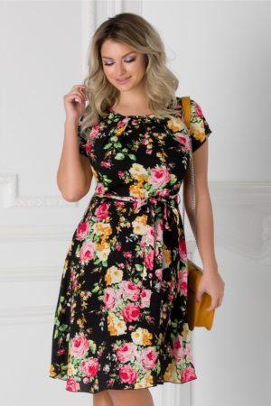 Rochie de vara neagra cu imprimeu floral roz Missa cu cordon in talie si maneci scurte