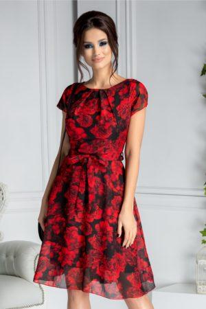 Rochie de vara neagra cu trandafiri rosii Missa cu cordon in talie si maneci scurte
