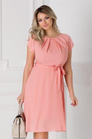 Rochie de vara roz cu buline albe Missa cu cordon in talie si maneci scurte
