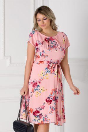 Rochie de vara roz cu imprimeu floral Missa cu cordon in talie si maneci scurte