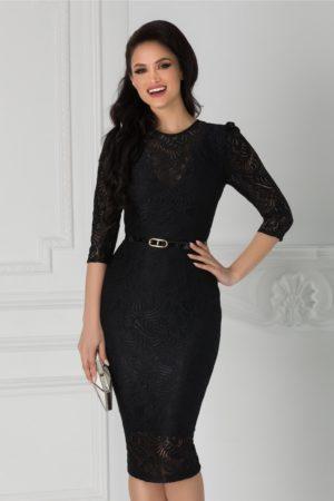 Rochie de seara din dantela neagra cu croiala midi mulata accesorizata cu o curea subtire in talie Moze