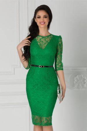 Rochie de seara din dantela verde cu croiala midi mulata accesorizata cu o curea subtire in talie Moze