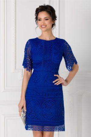 Rochie eleganta tip A din dantela albastra pentru ocaziile speciale din viata ta Moze