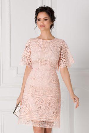 Rochie eleganta tip A din dantela roz pentru ocaziile speciale din viata ta Moze