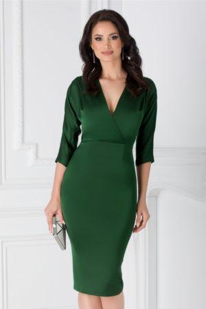Rochie de ocazie verde conica prevazuta cu bust petrecut si un decolteu adanc in V Moze