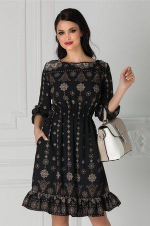 Rochie de zi neagra cu imprimeuri bej Natalia cu croiala in clos pentru tinute de primavara si vara