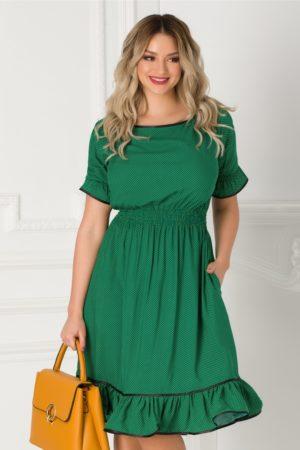 Rochie de zi verde cu buline galbene Natalia cu croiala in clos pentru tinute de primavara si vara