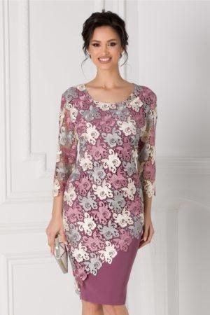 Rochie de ocazie lila midi cu dantela si maneci trei sferturi Otillia pentru femei plinute