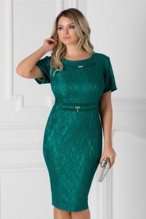Rochie de seara verde din dantela prevazuta cu decolteu barcuta si maneci scurte Petronela