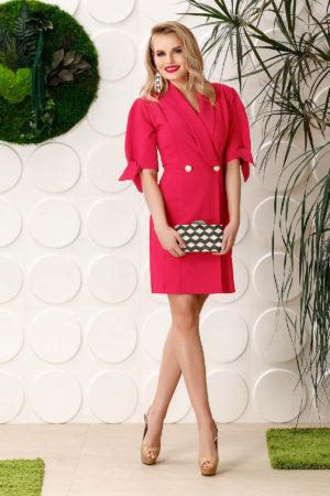 Rochie roz fucsia eleganta tip sacou cu maneci scurte PrettyGirl pentru tinute de ocazie elegante
