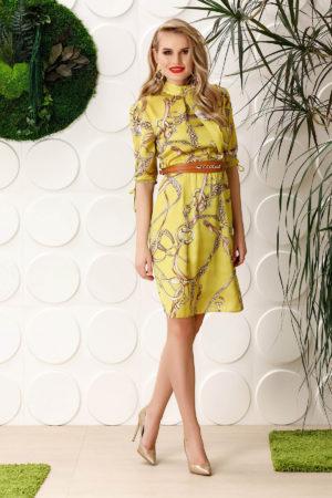 Rochie de zi galbena eleganta cu croiala in clos realizata din material cu aspect satinat si maneci trei sferturi PrettyGirl