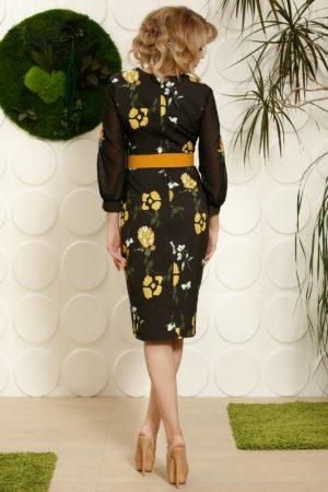 Rochie midi neagra cu flori galbene realizata intr-o croiala conica din material de voal diafan PrettyGirl