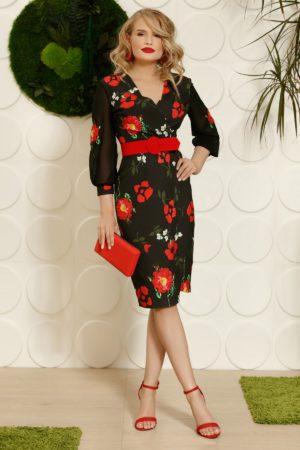 Rochie midi neagra cu flori rosii realizata intr-o croiala conica din material de voal diafan PrettyGirl