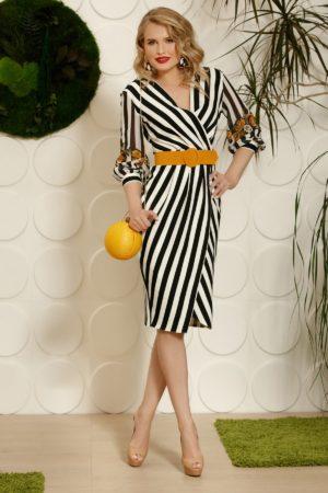 Rochie de ocazie tip creion cu dungi verticale albe si negre prevazuta cu accente discrete de galben mustar PrettyGirl