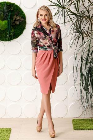 Rochie midi roz eleganta cu guler tip esarfa si imprimeuri florale de primavara PrettyGirl