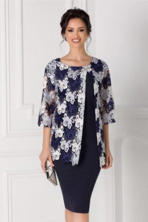 Rochie de seara bleumarin eleganta pentru femei plinute Rania cu aplicatie din dantela si maneci trei sferturi