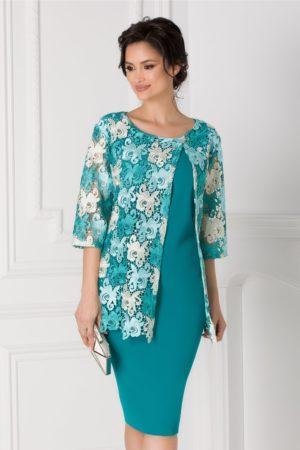 Rochie de seara turcoaz eleganta pentru femei plinute Rania cu aplicatie din dantela si maneci trei sferturi