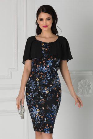 Rochie de nunta neagra cu imprimeu floral albastru si aplicatie din voal Roxy