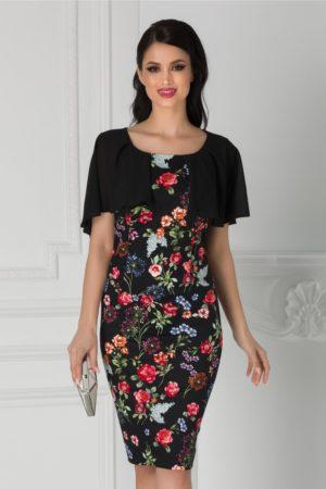 Rochie de nunta neagra cu imprimeu floral rosu si aplicatie din voal Roxy
