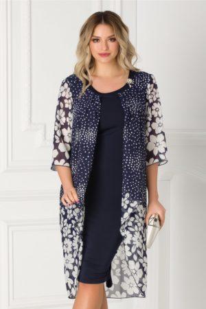 Rochie de ocazie bleumarin cambrata si eleganta decorata cu voal imprimat Sabrina pentru femei plinute