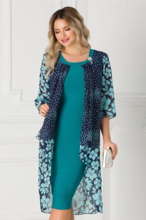 Rochie de ocazie turcoaz cambrata si eleganta decorata cu voal imprimat Sabrina pentru femei plinute
