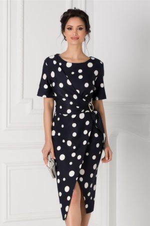 Rochie midi neagra de ocazie eleganta cu aspect petrecut si croiala asimetrica Sany accesorizata cu o catarama in talie
